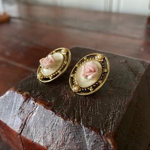 Vintage Cottage Core Rose Earrings